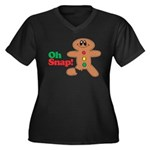 Christmas Gingerbread Oh Snap Women's Plus Size V-