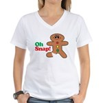 Christmas Gingerbread Oh Snap Women's V-Neck T-Shi