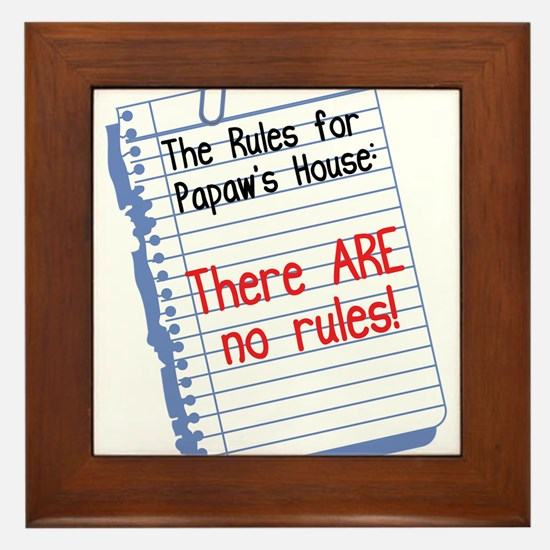 No Rules at Papaw's House Framed Tile
