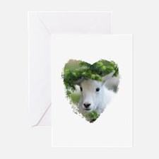 Heart Shape Baby Mountain Goat Greeting Cards