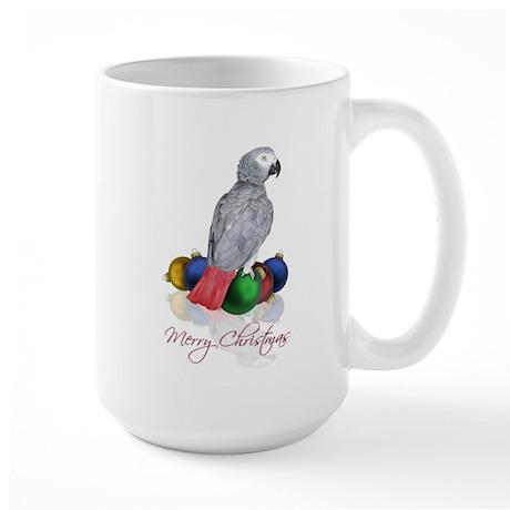 african grey christmas Large Mug