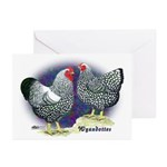 Silver Wyandotte Chickens Greeting Cards (Pk of 20