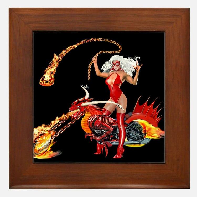 Red Hot Dragon Biker Babe Framed Tile