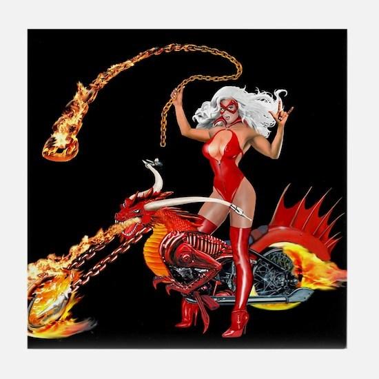 Red Hot Dragon Biker Babe Tile Coaster
