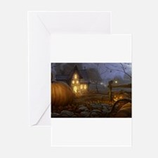 Haunted Halloween Village Greeting Cards