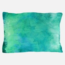 Blue Green Aqua Teal Turquoise Waterc Pillow Case