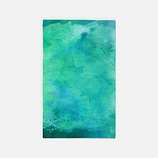 Blue Green Aqua Teal Turquoise Watercolo Area Rug