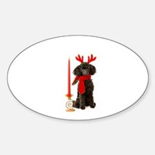 Black Poodle Dog Christmas Candle Decal