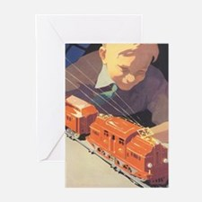 Vintage Boy with Train Greeting Cards