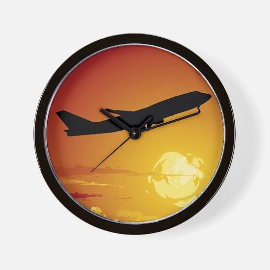 Airplane in Flight Wall Clock