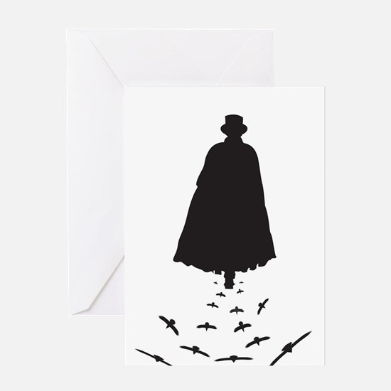 Jack the Ripper with Crows Greeting Cards