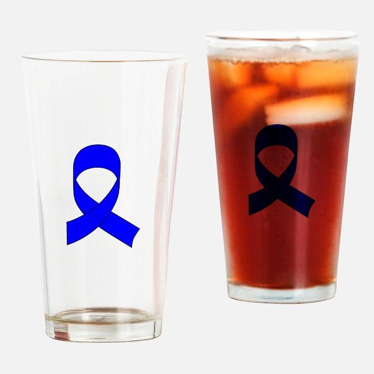 Blue Awareness Ribbon Drinking Glass