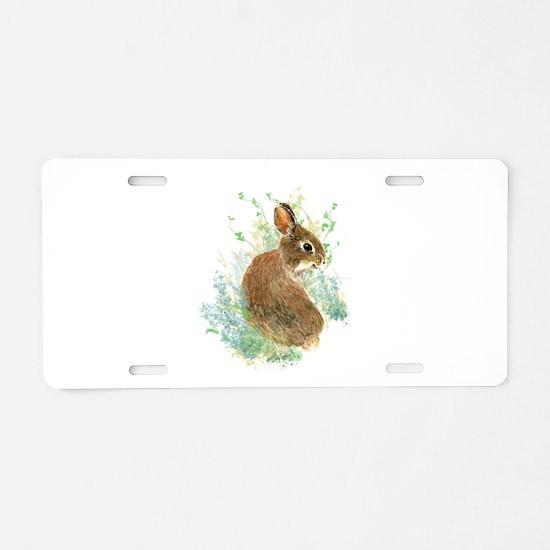 Cute Watercolor Bunny Rabbi Aluminum License Plate