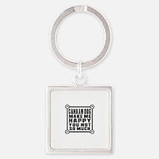 Canaan Dog Dog Make Me Happy Square Keychain