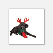 Black Christmas Poodle with Antlers and Re Sticker