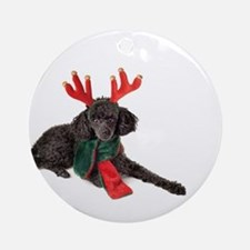 Black Christmas Poodle with Antlers Round Ornament