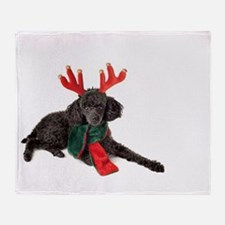 Black Christmas Poodle with Antlers Throw Blanket
