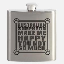 Australian Shepherd Dog Make Me Happy Flask