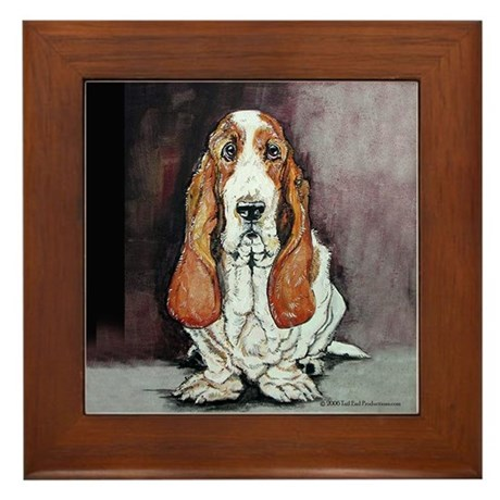 Basset Hound Portrait Framed Tile