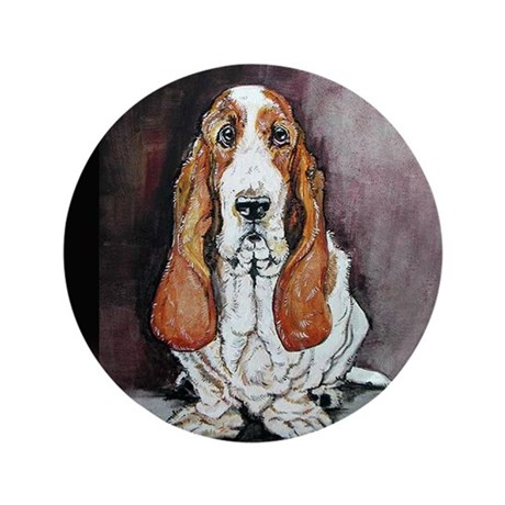 "Basset Hound Portrait 3.5"" Button"