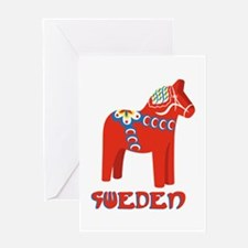 Sweden Dala Horse Greeting Cards