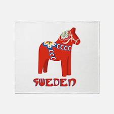 Sweden Dala Horse Throw Blanket