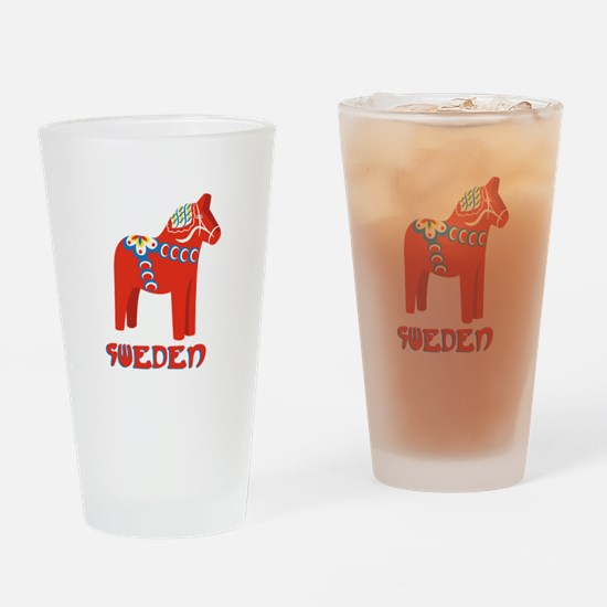 Sweden Dala Horse Drinking Glass