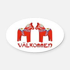 Swedish Horse Valkommen Oval Car Magnet