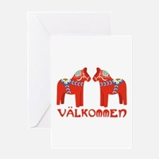 Swedish Horse Valkommen Greeting Cards