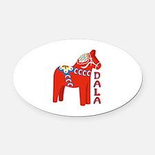 Swedish Dala Horse Oval Car Magnet