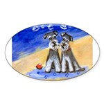 SCHNAUZER beach Design Oval Sticker