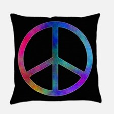 Multicolored Peace Sign Everyday Pillow