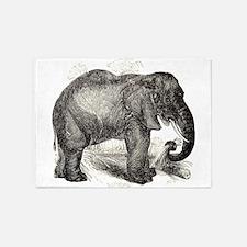 Vintage Elephant Illustration (1891 5'x7'Area Rug