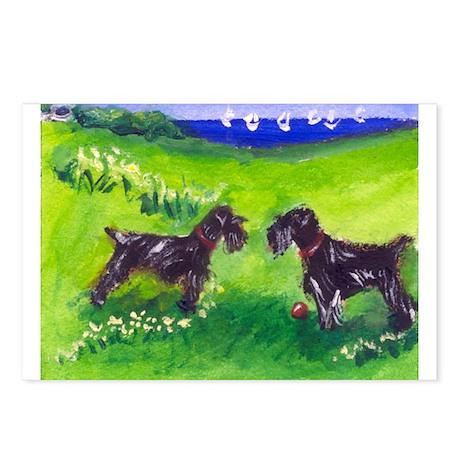 SCHNAUZER black Greetings Des Postcards (Package o