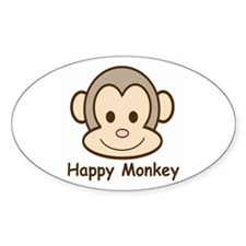Happy Monkey Oval Decal