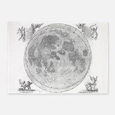 Vintage Map of The Moon (1647) 5'x7'Area Rug