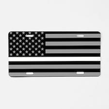 EMS: Black Flag & Thin Whit Aluminum License Plate
