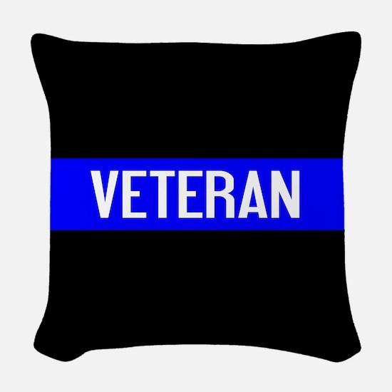 Police: Veteran & The Thin Blu Woven Throw Pillow