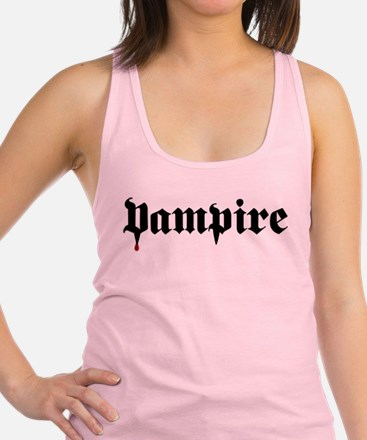 Gothic Vampire Text with Blood Racerback Tank Top