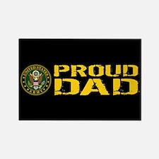 U.S. Army: Proud Dad (Black & Gol Rectangle Magnet