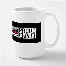 Firefighter: Proud Dad (Black Flag, Red Large Mug