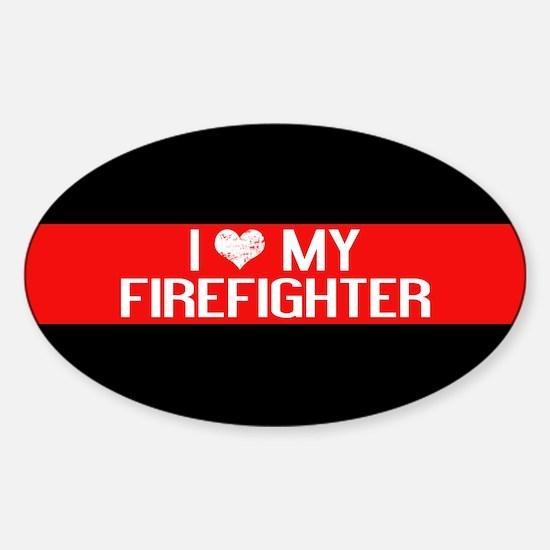 Firefighter: I Love My Firefighter Sticker (Oval)