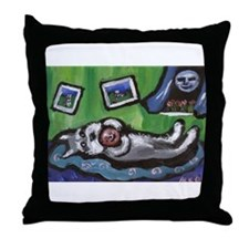 Schnauzer w Favorite smiling  Throw Pillow