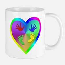 Beautiful Rainbow Heart with Baby Prints Mugs
