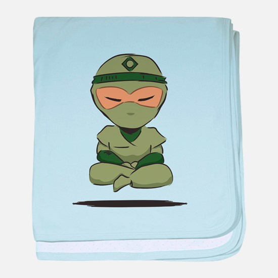 Meditating Ninja 01 Green baby blanket