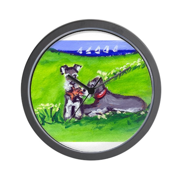 Schnauzer Tug O War Design Wall Clock By Petartbyangie