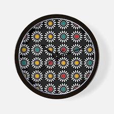 White daisies pattern Wall Clock