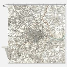 Vintage Map of London England (1832 Shower Curtain