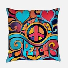 Colorful Hippie Art Everyday Pillow