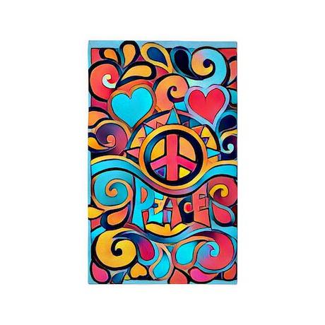 Colorful Hippie Art Area Rug